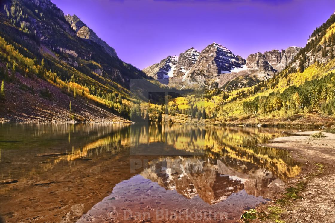 """Sunrise on the Amazing Maroon Bells In Autumn"" stock image"