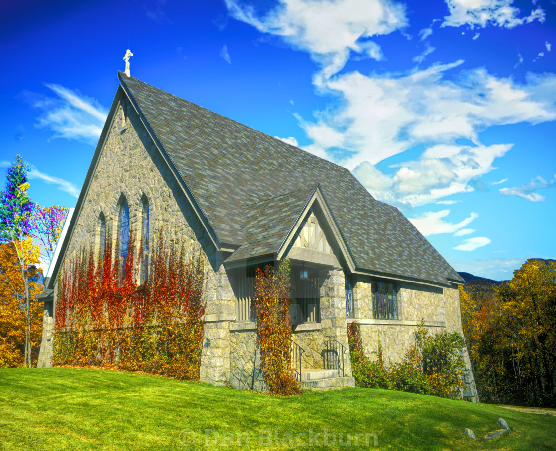 """""""Old Church and Fall Color"""" stock image"""