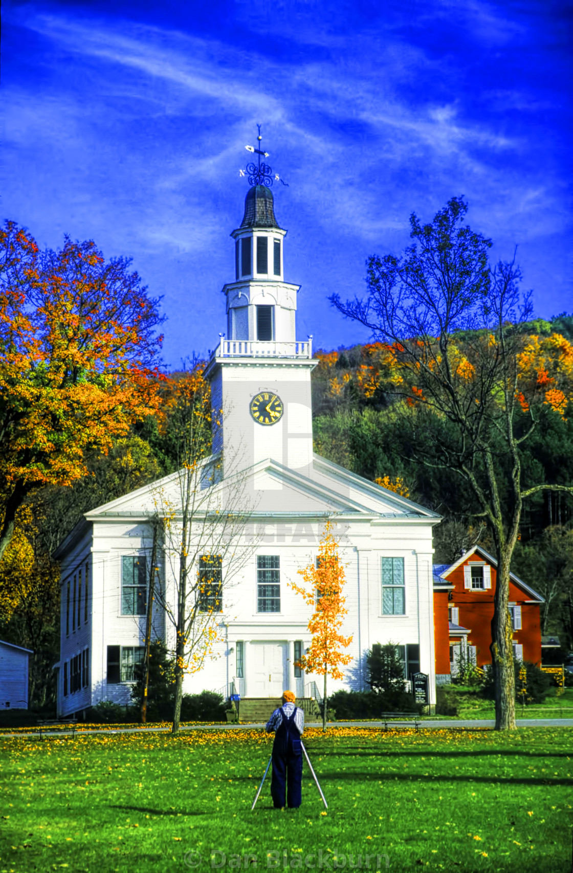 """""""A Photographer and Church in Fall Color"""" stock image"""