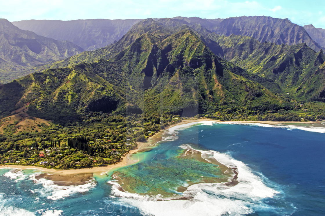 """Aerial View of Tunnels Beach and the Napali Coast Kauai Hawaii"" stock image"