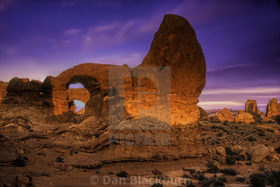 """""""Turret Arch at Sunset"""" stock image"""