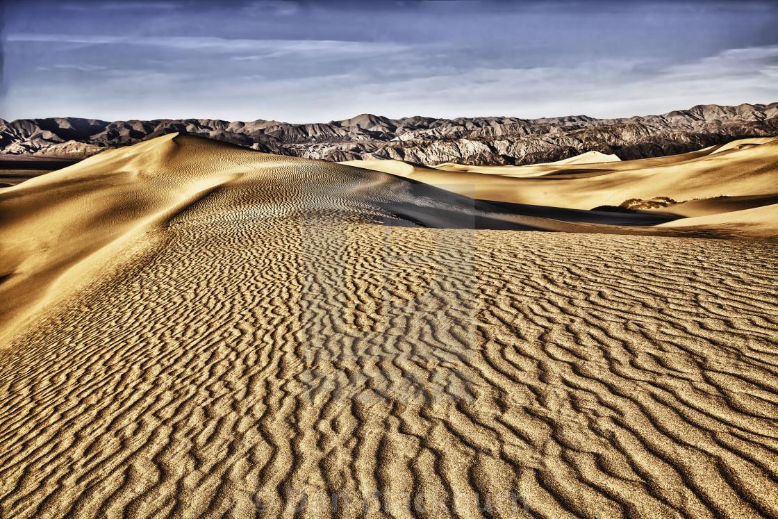 """Sunrise on Mesquite Dunes"" stock image"