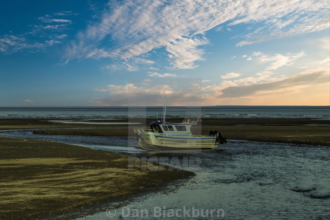 """""""Stranded Boat at Low Tide Cook Inlet Alaska"""" stock image"""