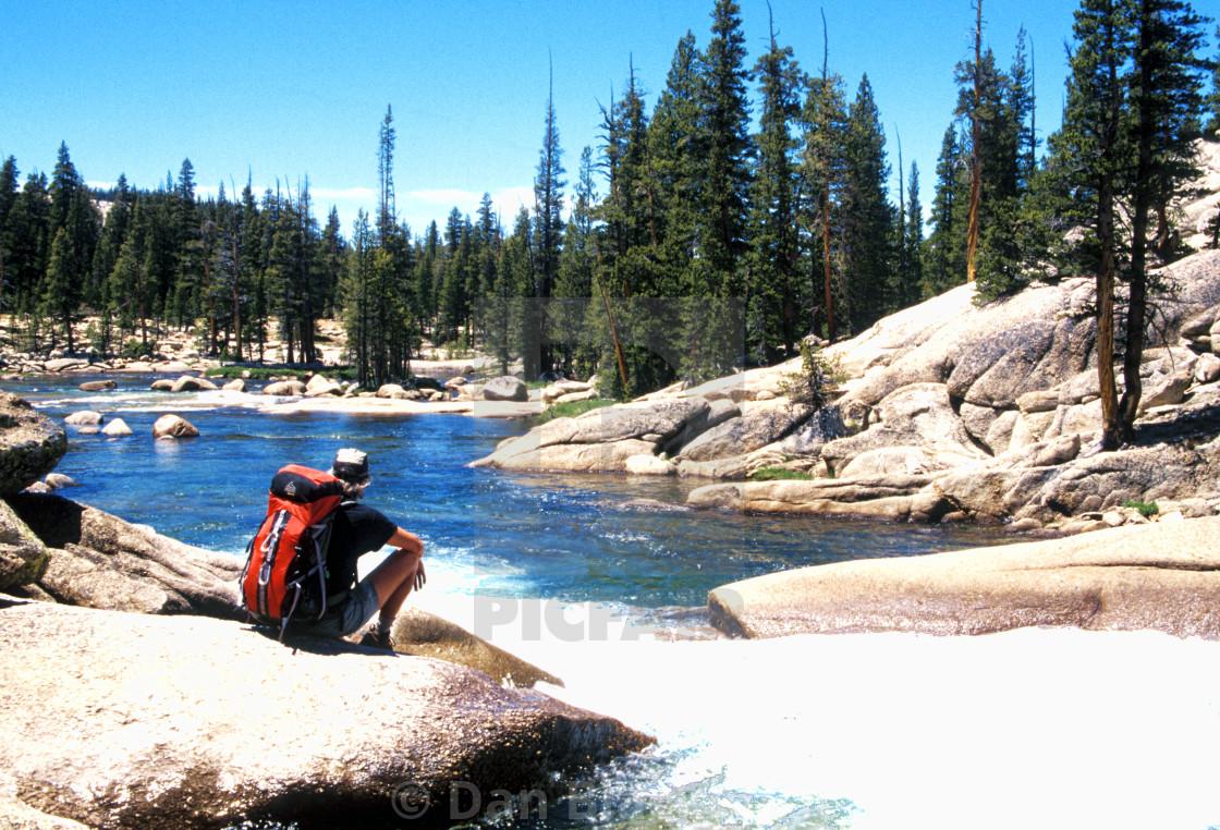 """Wilderness Backpacker Resting Yosemite National Park"" stock image"