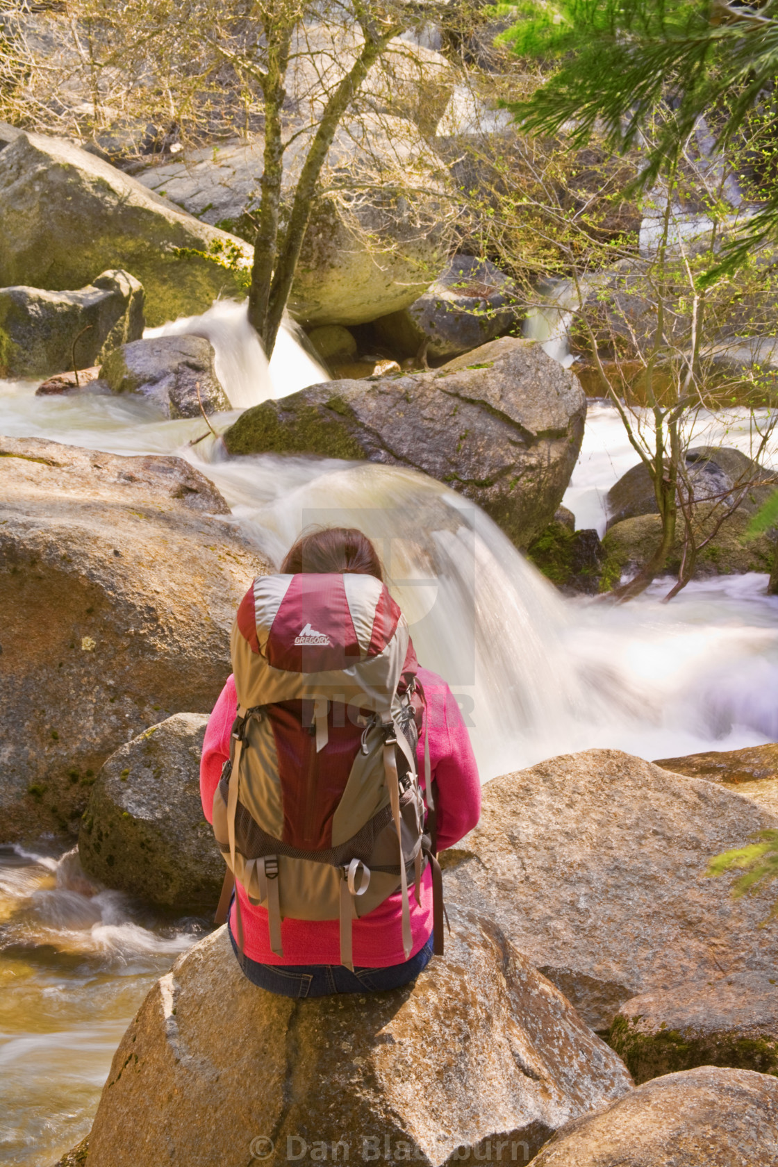 """Woman Hiker Beside Waterfall"" stock image"