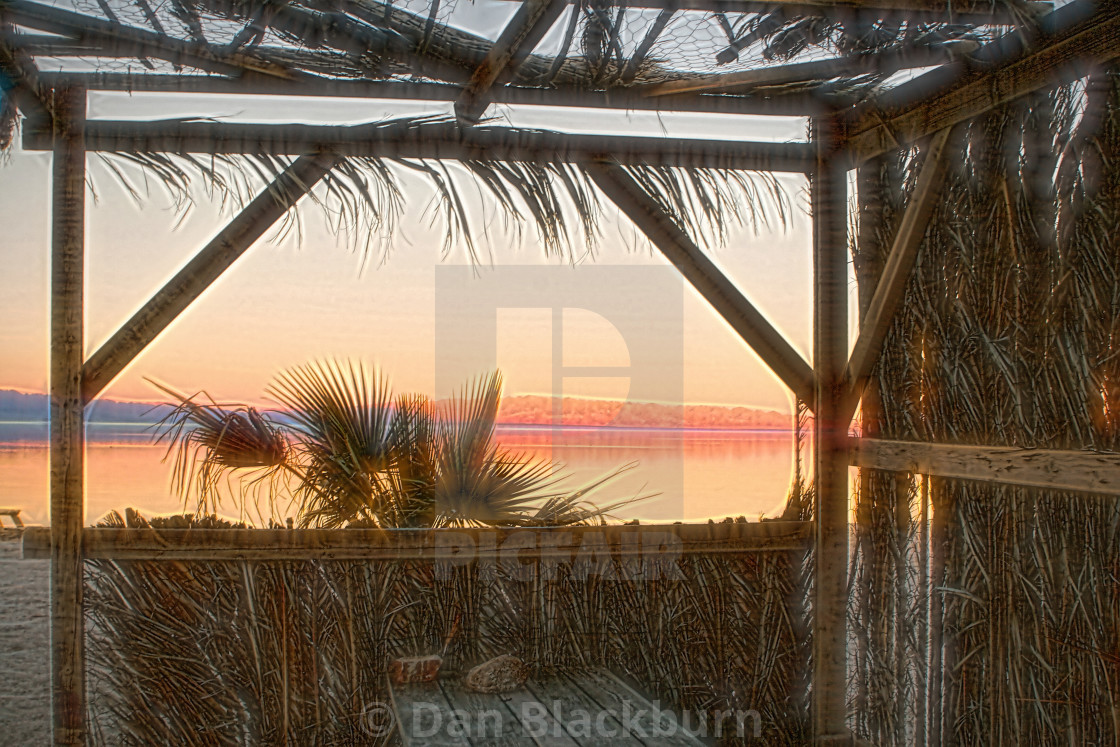 """""""Sunset From a Grass Shack"""" stock image"""
