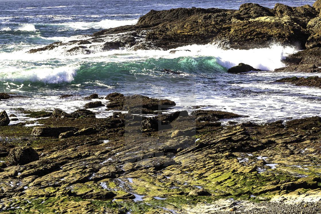 """Rising Tide Slams California Coast in Big Sur"" stock image"