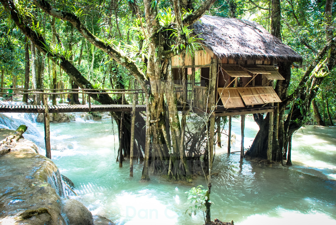 """House on Stilts, Laos"" stock image"