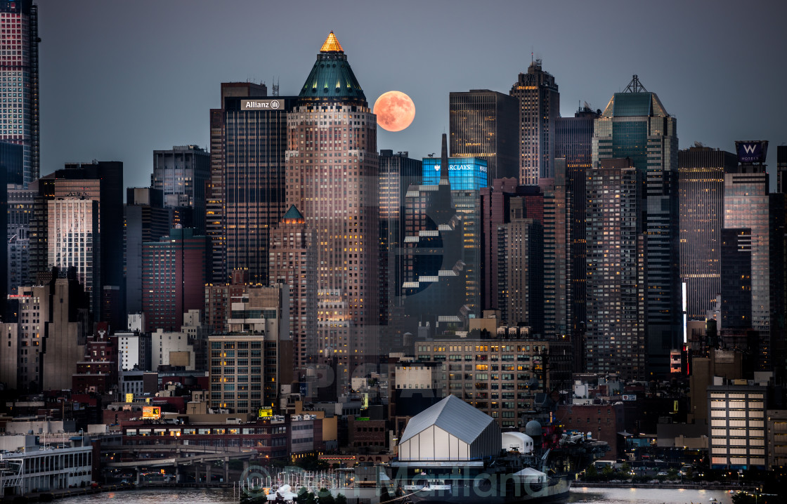 """Supermoon NYC"" stock image"