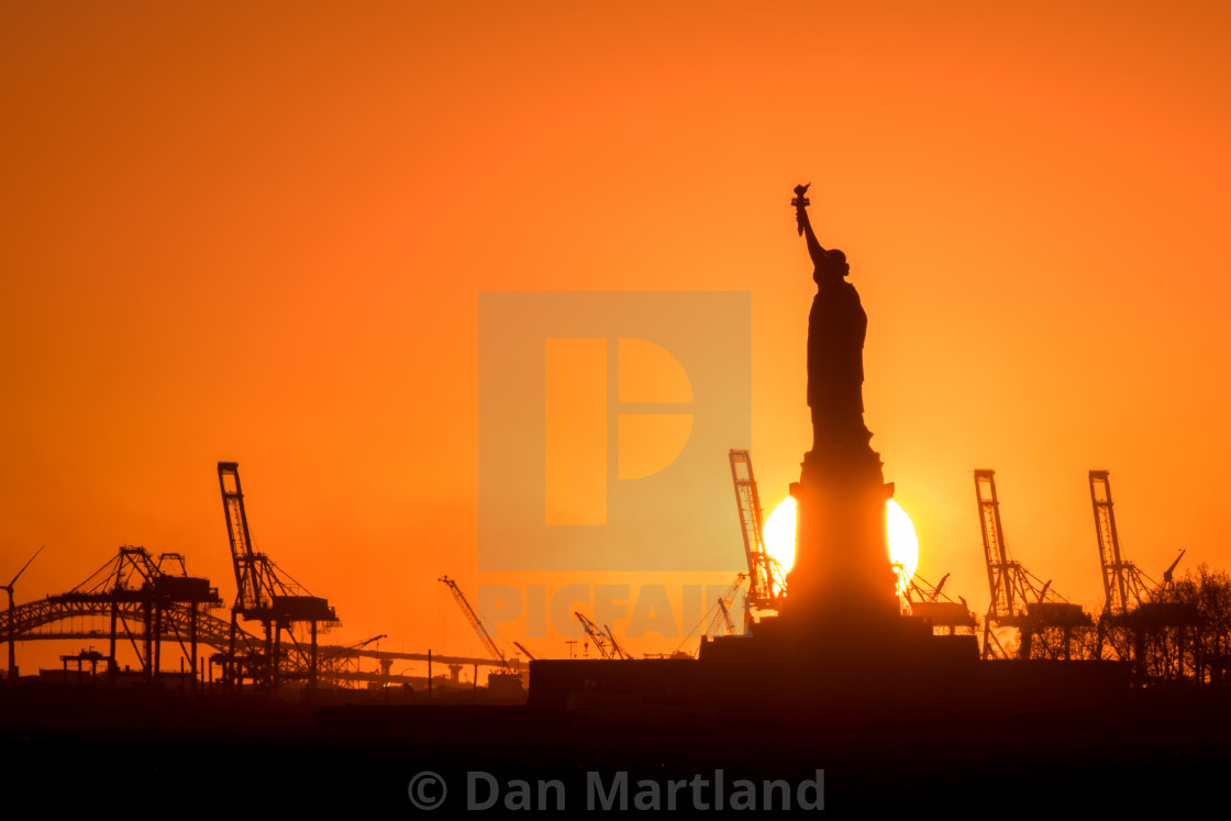 """Lady Liberty Sunset"" stock image"