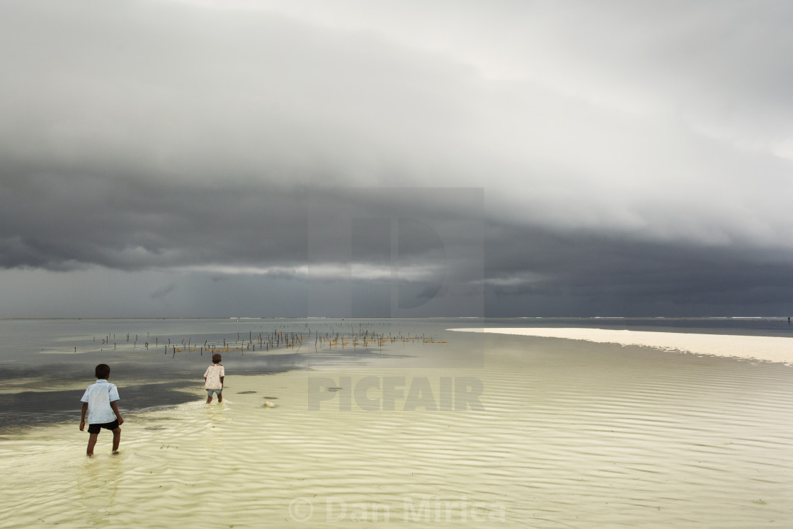 """Children going in water near to seaweed plantation with storm clouds"" stock image"