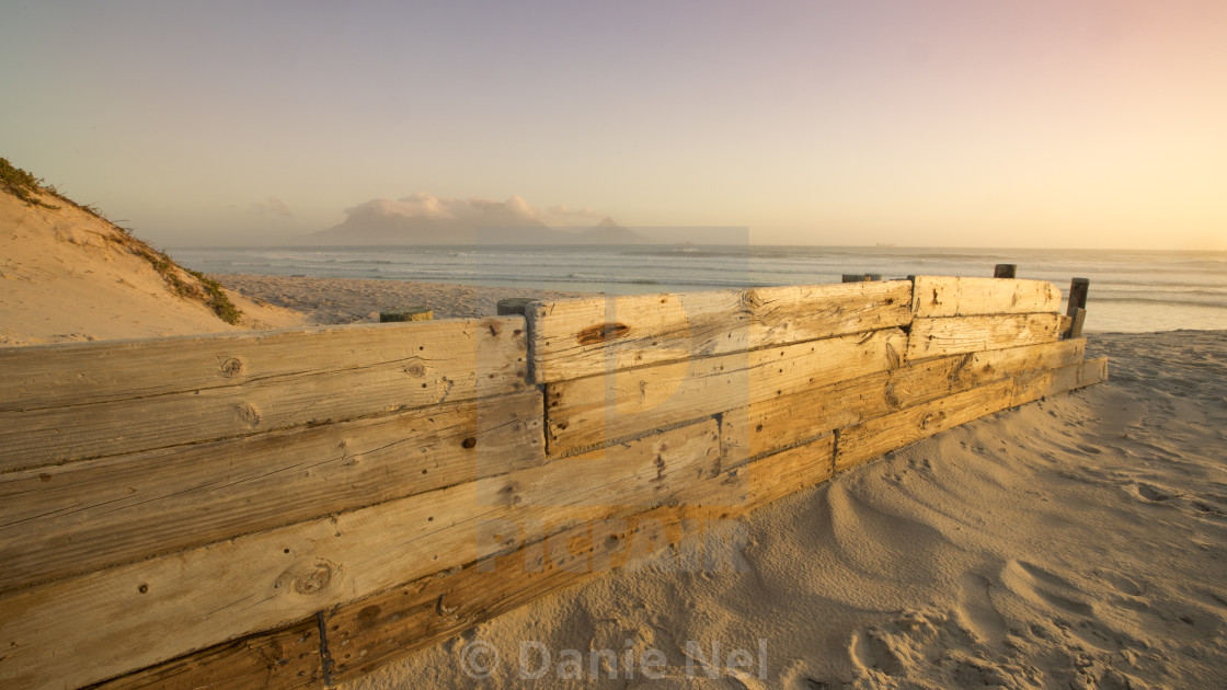"""""""Sunset view towards Table Mountain"""" stock image"""