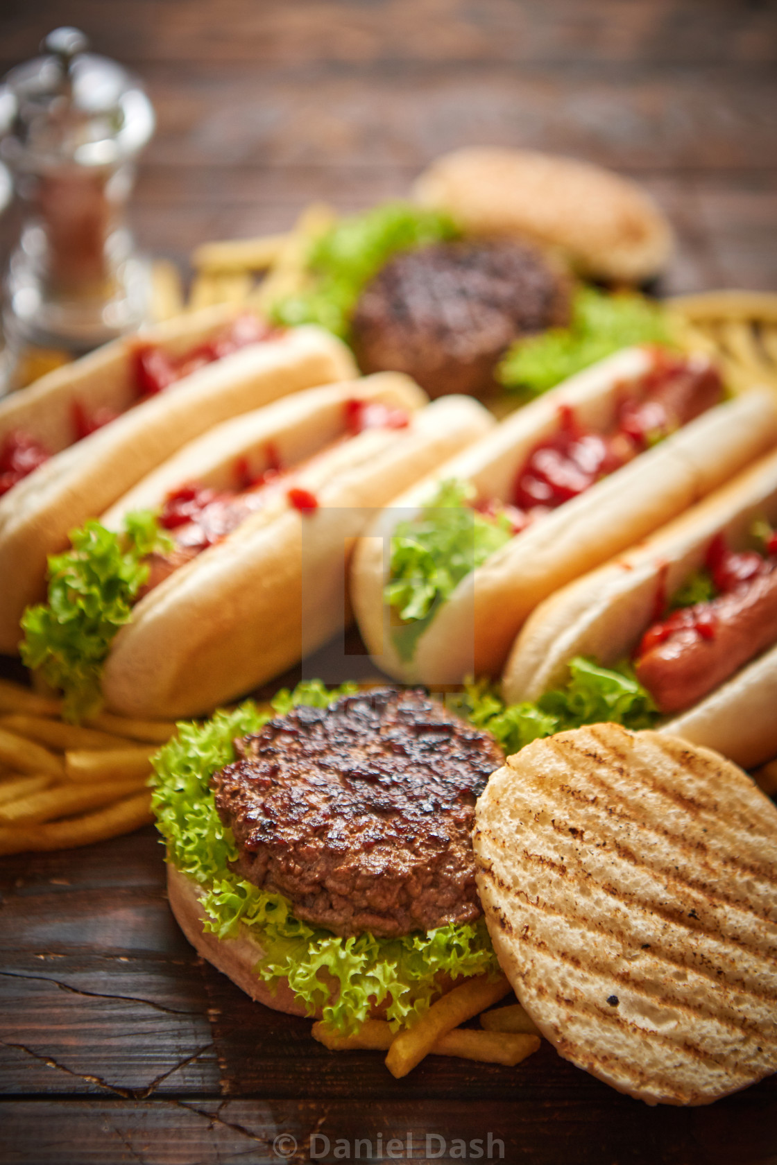 Fastfood Assortment Hamburgers And Hot Dogs Placed On Rusty Wood Table License Download Or Print For 5 00 Photos Picfair