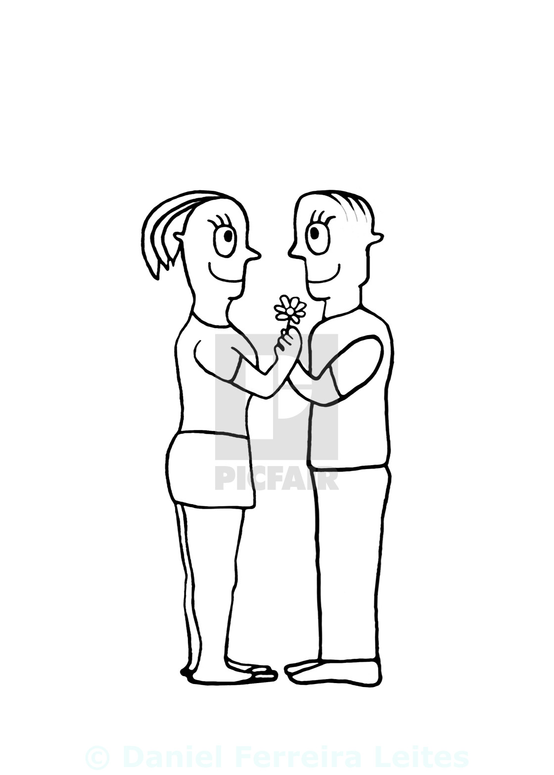 Black and white drawing couple in love concept license