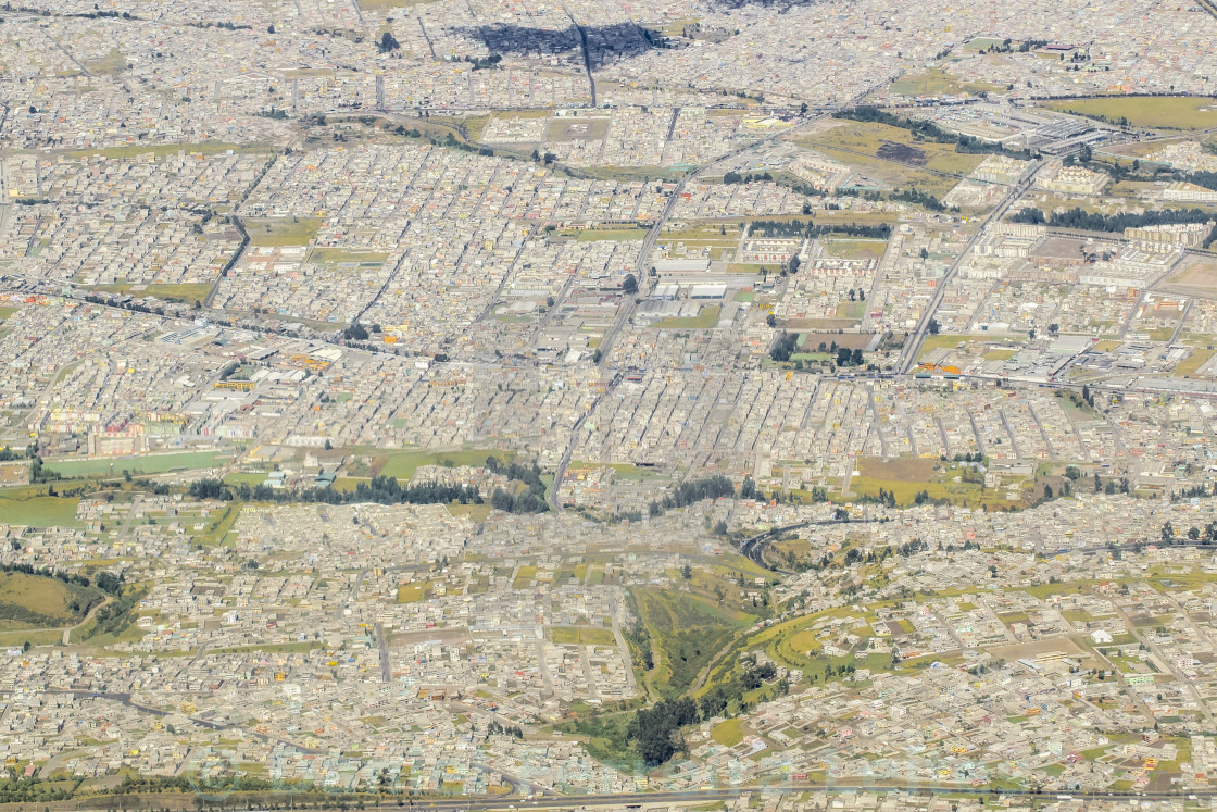 Aerial View of Outsides of Quito city in Ecuador - License, download