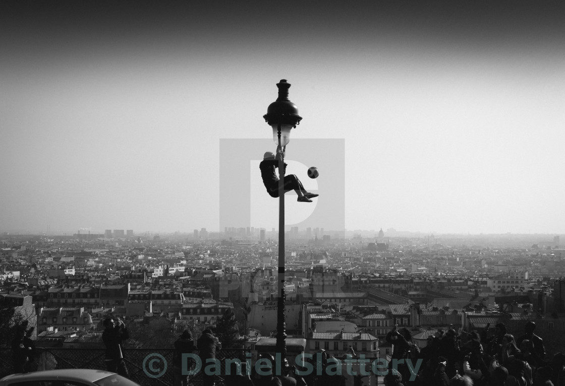 """Football juggler in Paris"" stock image"
