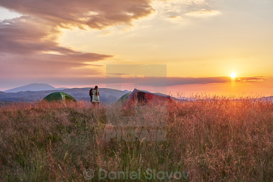 """Camping in the mountain"" stock image"