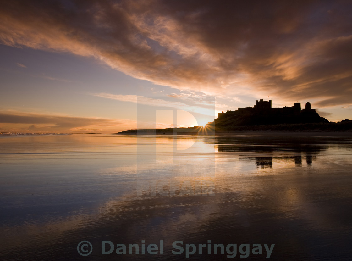 """Bambrough Dawn"" stock image"