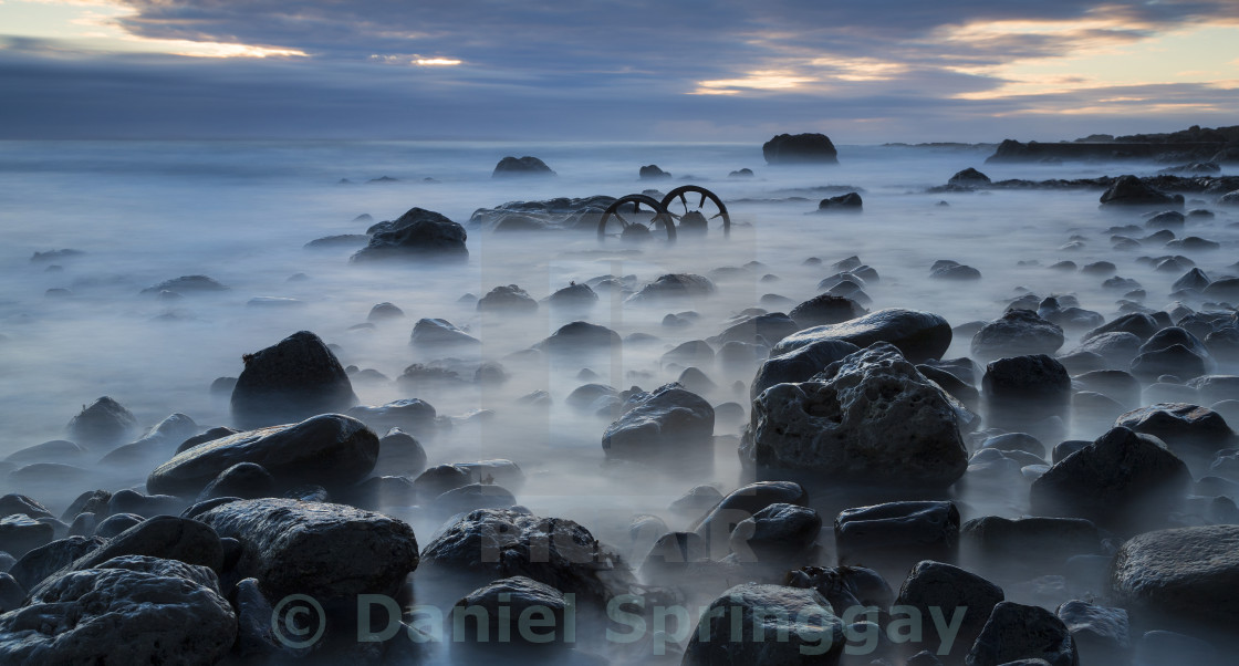 """Seaham Wheels at dawn"" stock image"