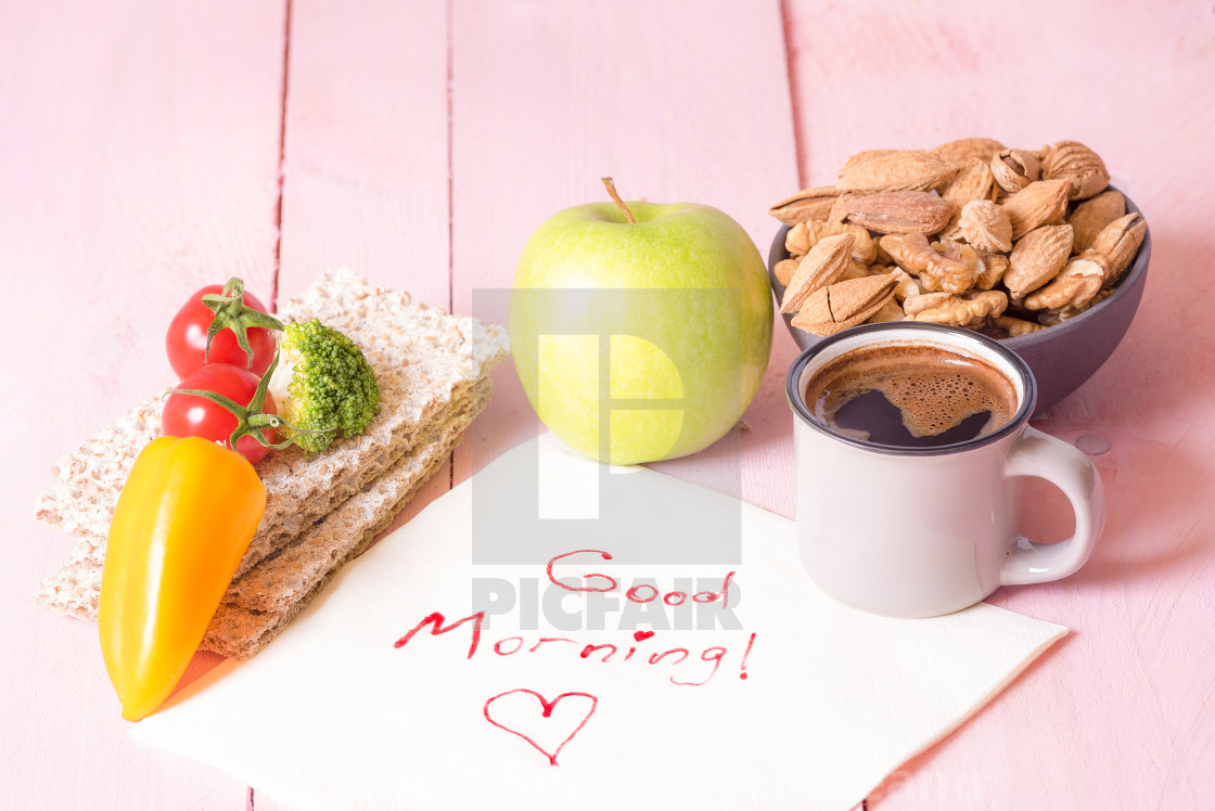 Healthy Food And Good Morning Text License Download Or Print For