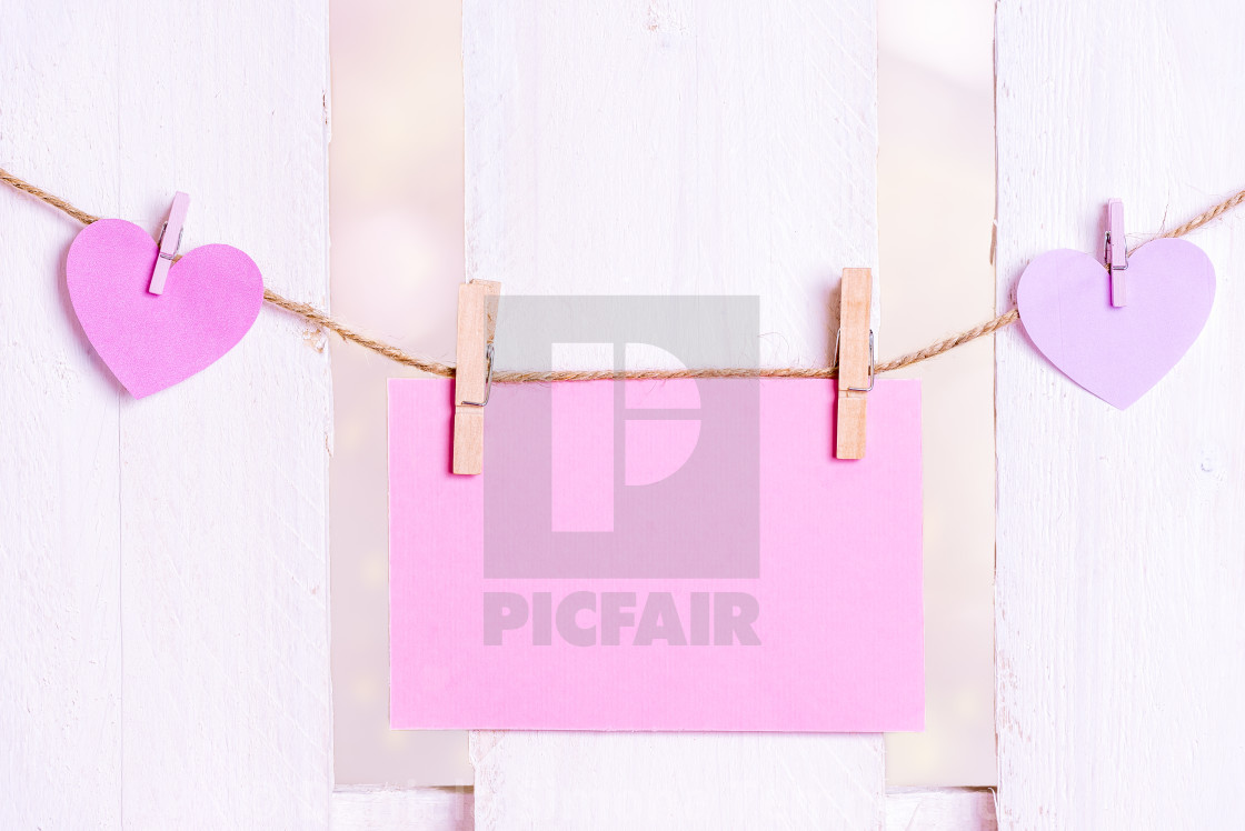 Message Card And Pink Hearts On A String License For 1240 On Picfair
