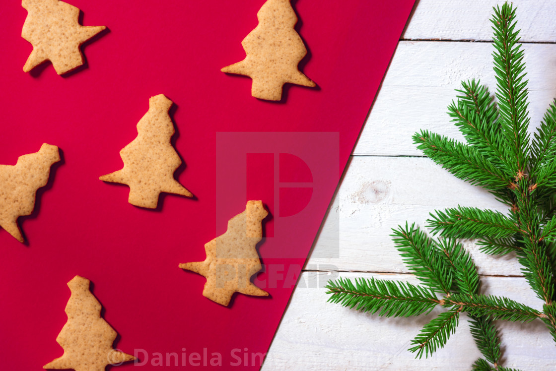 Christmas Tree Shaped Cookies And Fir Twig License Download Or