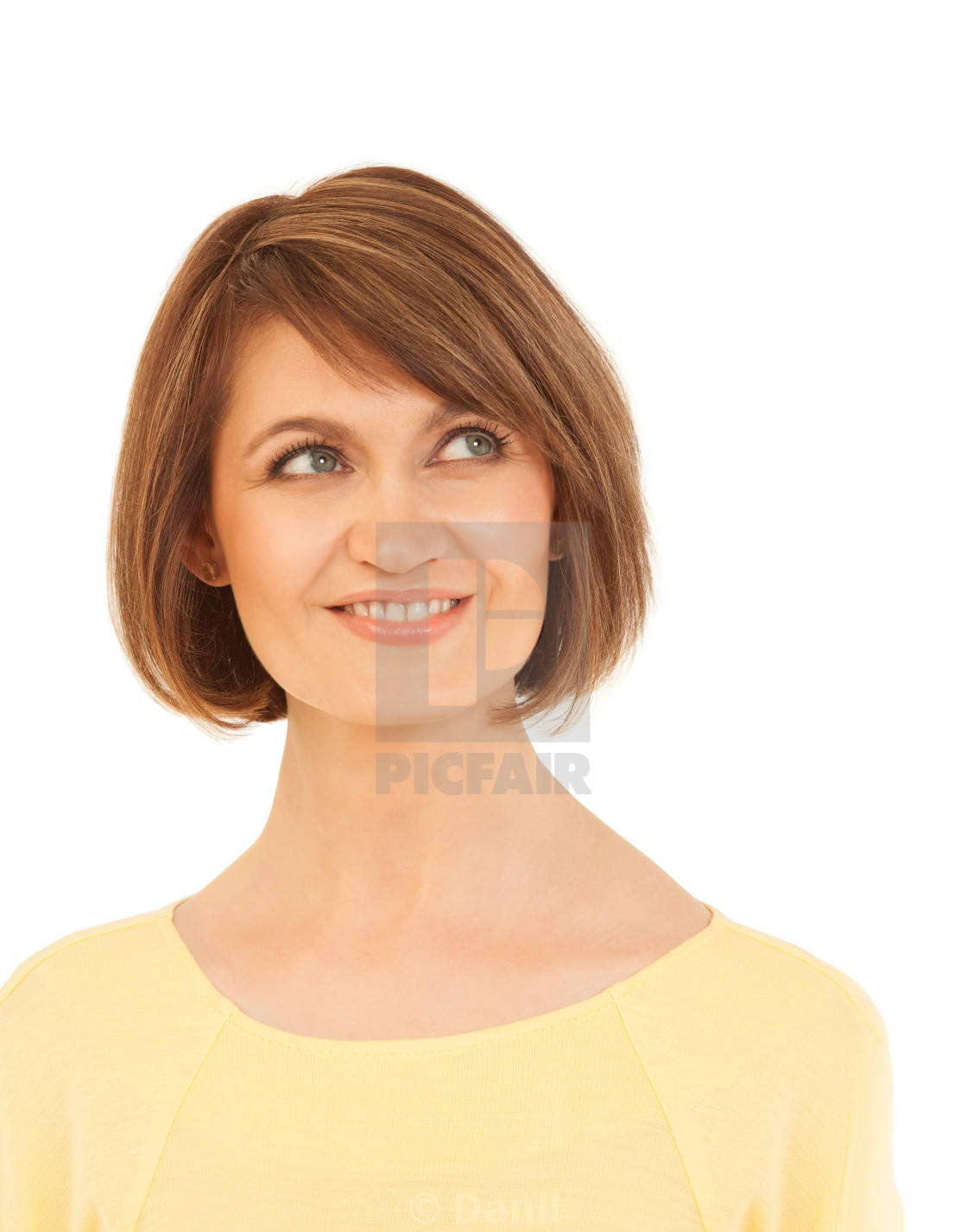 """Elegant adult woman looking up and smiling"" stock image"