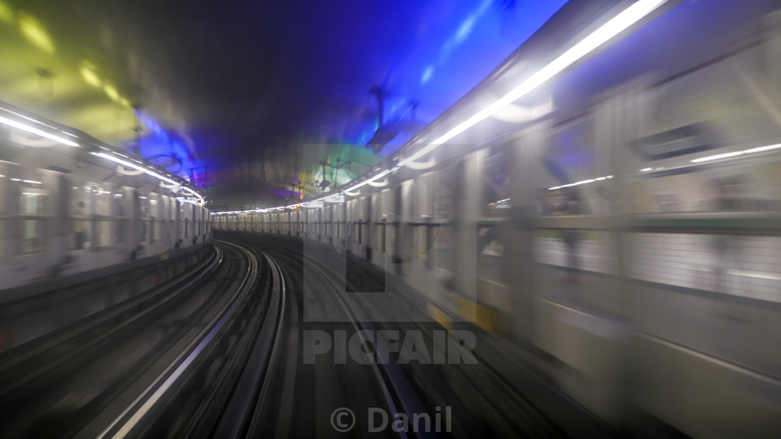 """View from window in Paris subway"" stock image"