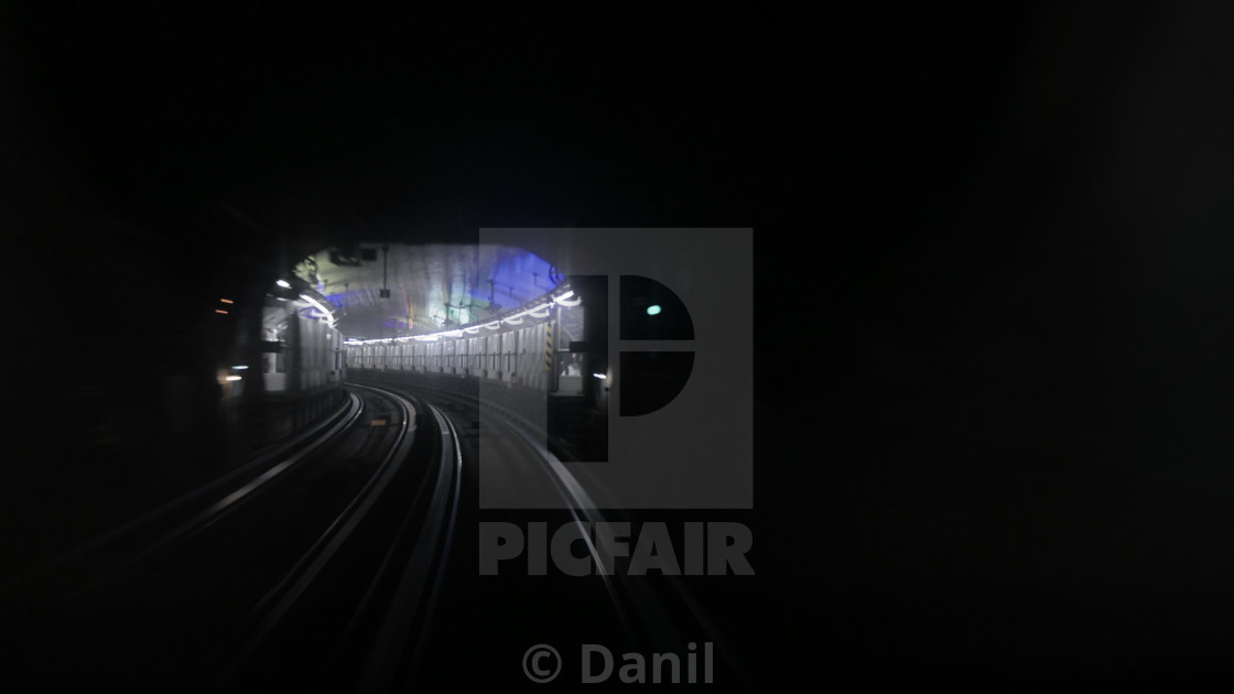"""Paris metro subway with station in background"" stock image"