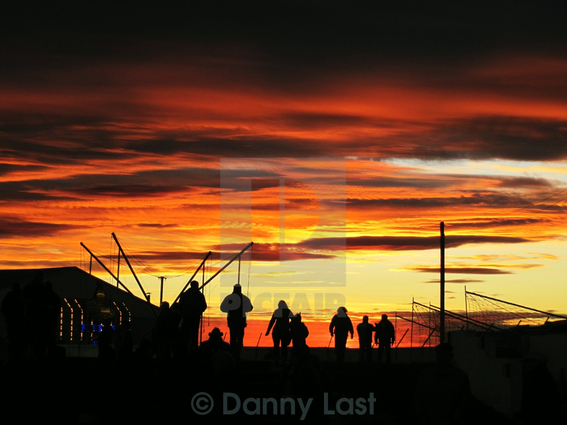 """Sunset over Gayfield Park, Arbroath."" stock image"