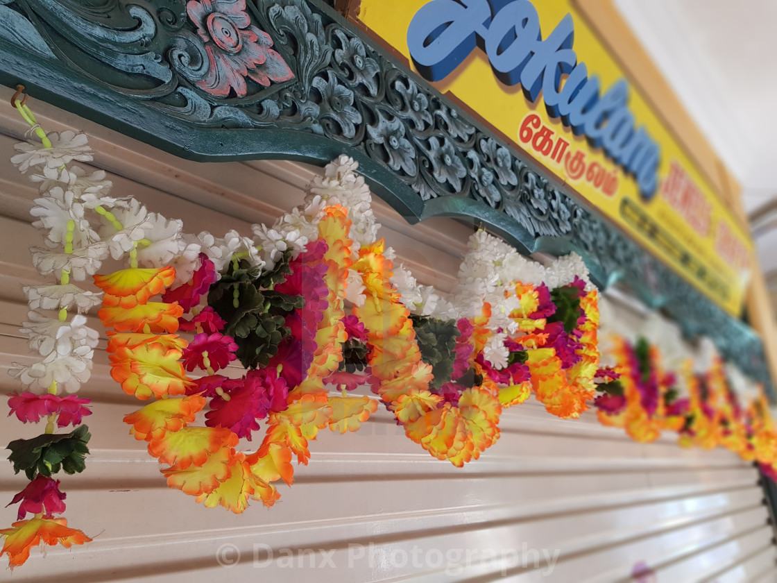 """Garlands Hanging Outside a Shop in Little India"" stock image"