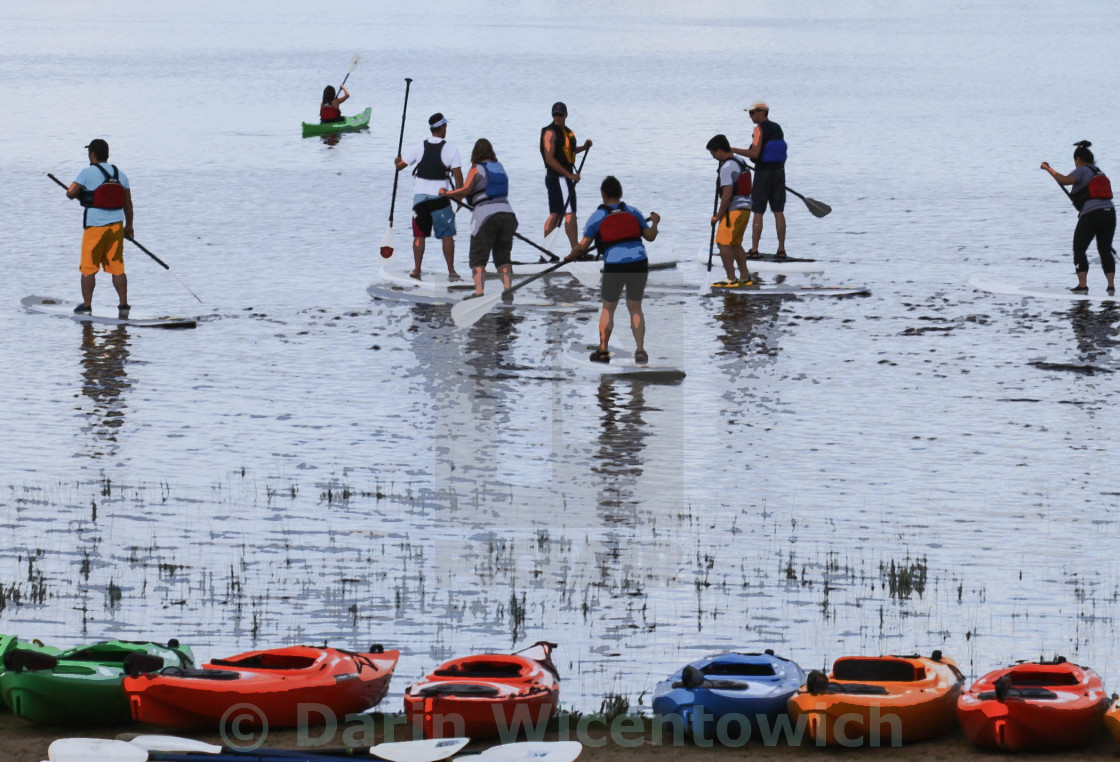 People On Paddle Boards Comic Book Effect Stock Image