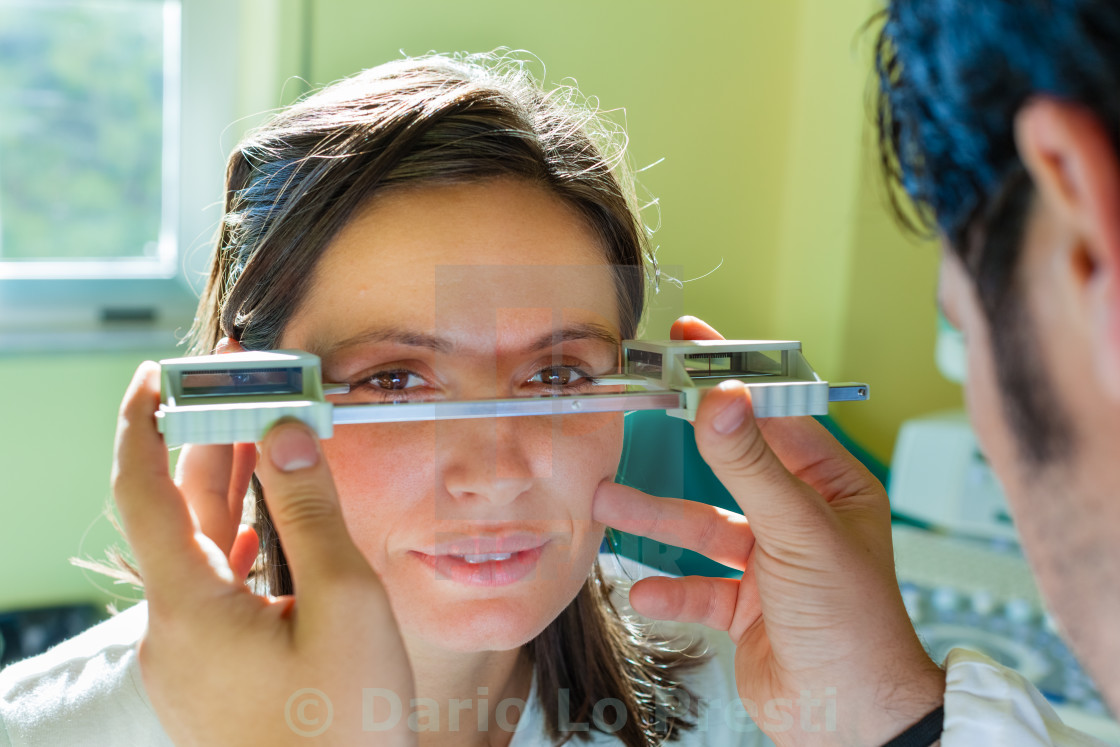 exophthalmos exam stock image