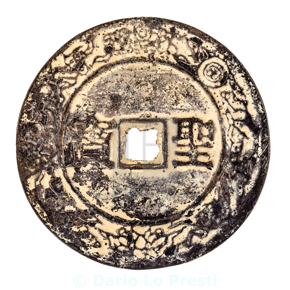 """chinese rusty coin"" stock image"