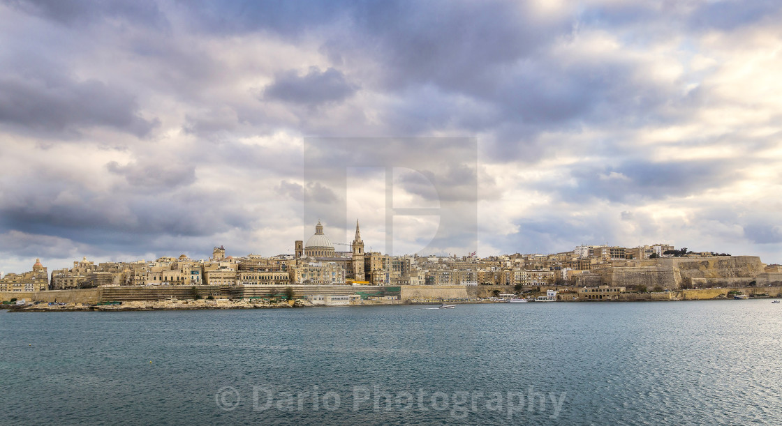 """Malta: Clouds over Valletta"" stock image"