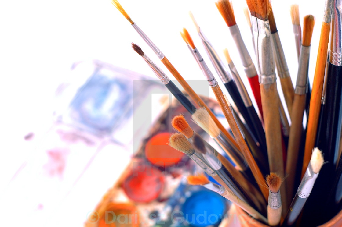 """""""watercolor brushes"""" stock image"""