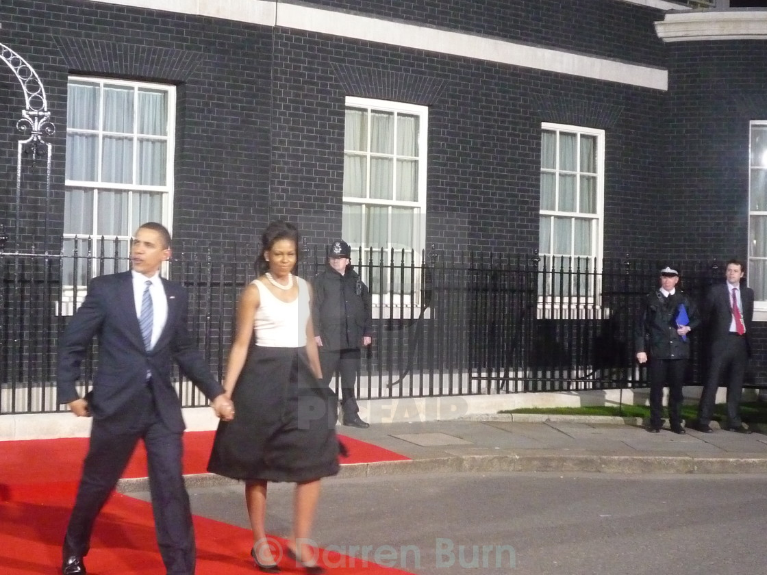 """Barack and Michelle Obama at Downing Street"" stock image"