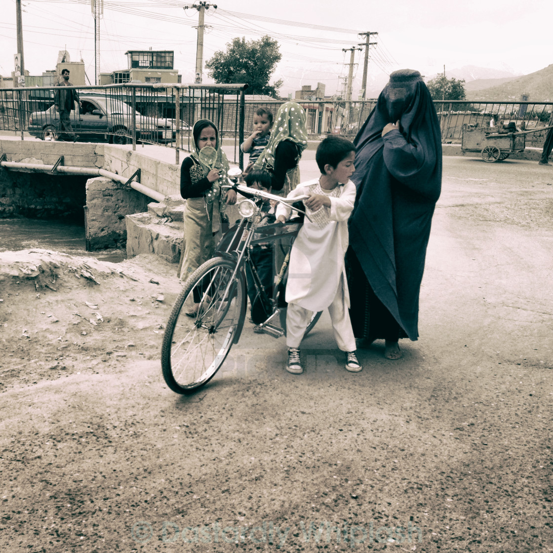 """Family in Kabul"" stock image"