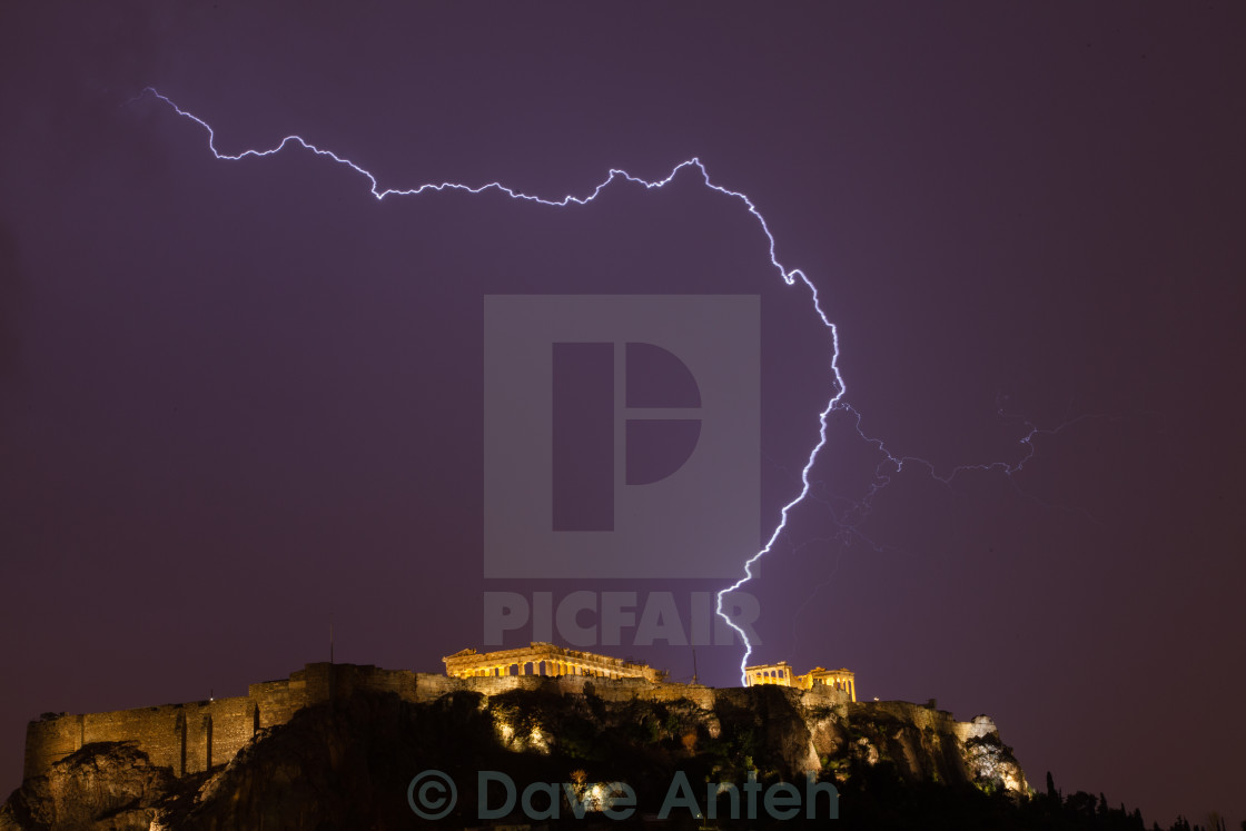 """Lightning at the Acropolis"" stock image"