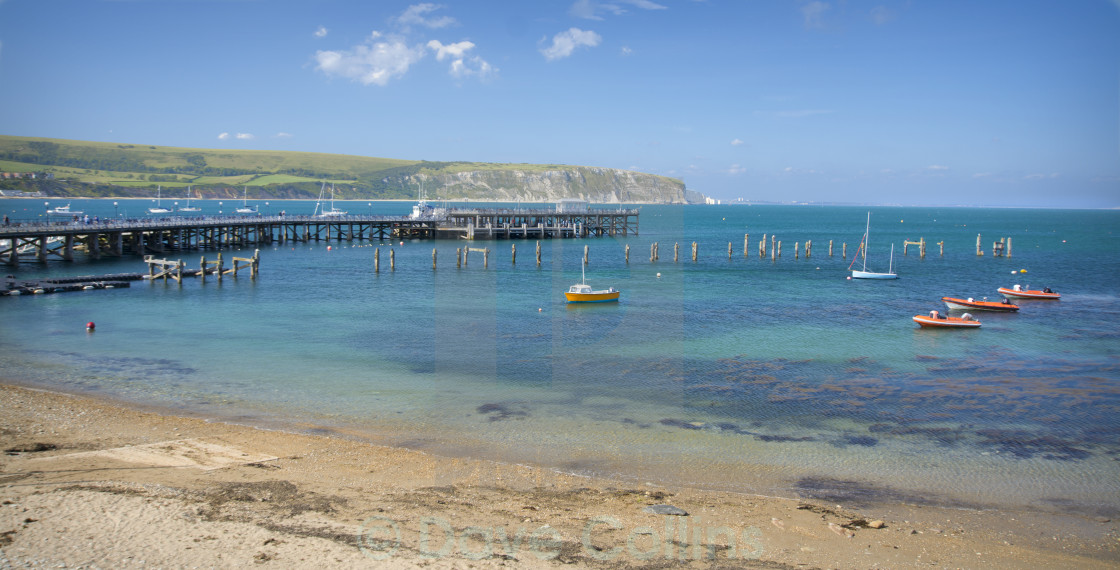 """""""Swanage Piers - Old and New"""" stock image"""