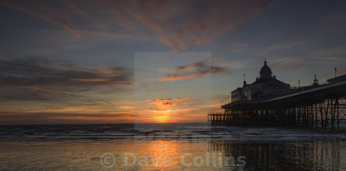 """Sunrise at Eastbourne Pier"" stock image"