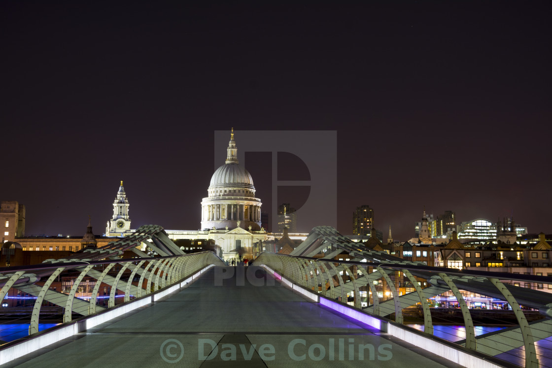 """St Paul's from the millennium Bridge at night"" stock image"