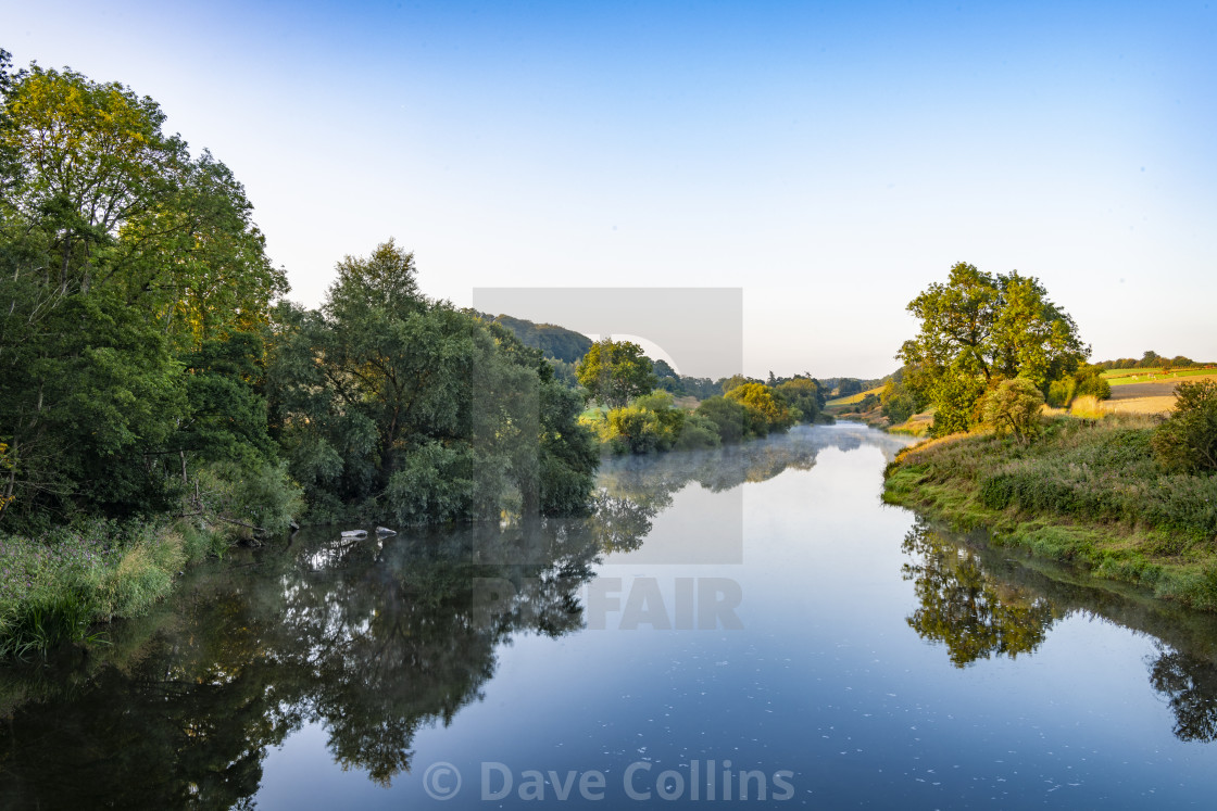 """Early Morning Mist on the Teviot River"" stock image"
