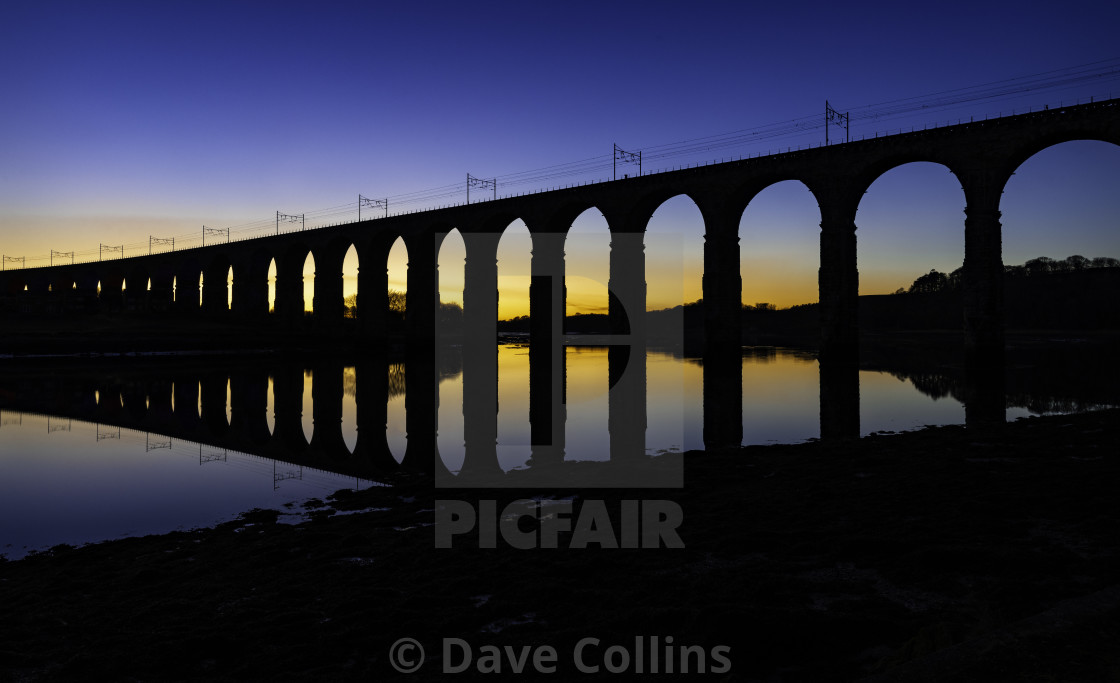 """Berwick Viaduct at Sunset"" stock image"