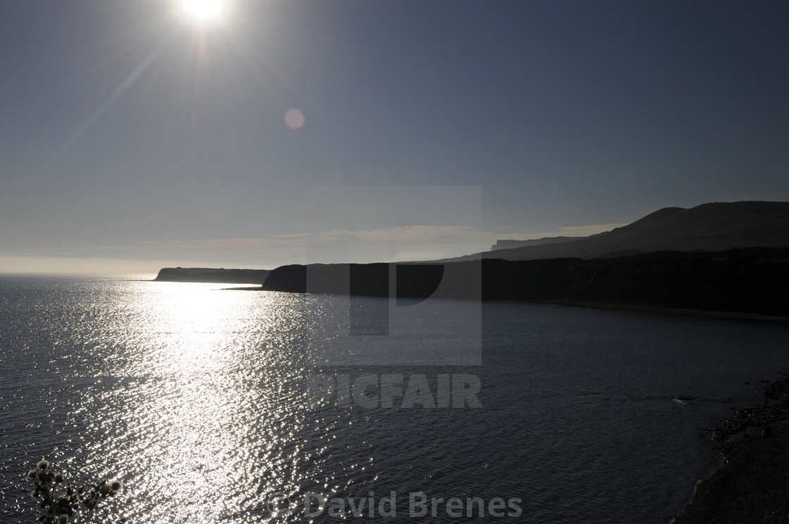 """Kimmeridge Bay at sunset Jurassic Coast Isle of Purbeck Dorset England"" stock image"