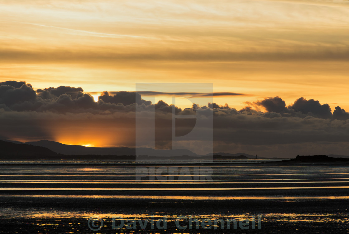 """Moody North Wales Coast Sunset"" stock image"