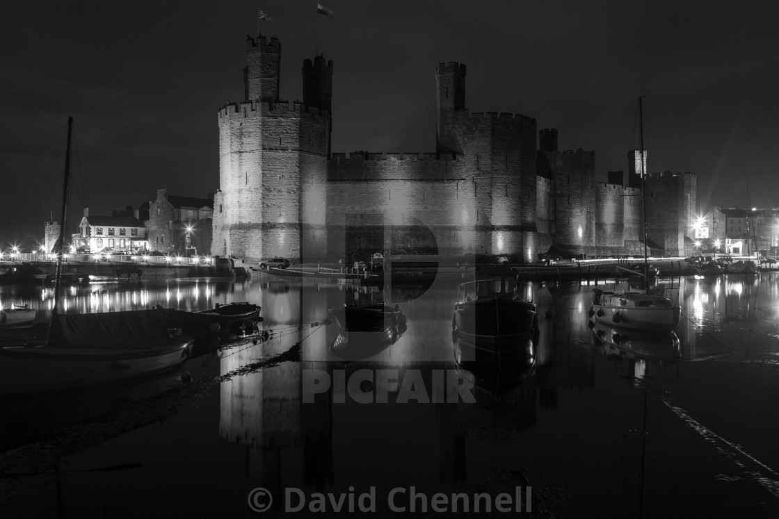 """Caernarfon Castle Relection"" stock image"