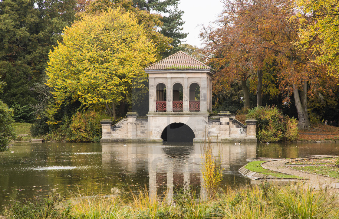 """Birkenhead Park Boathouse"" stock image"