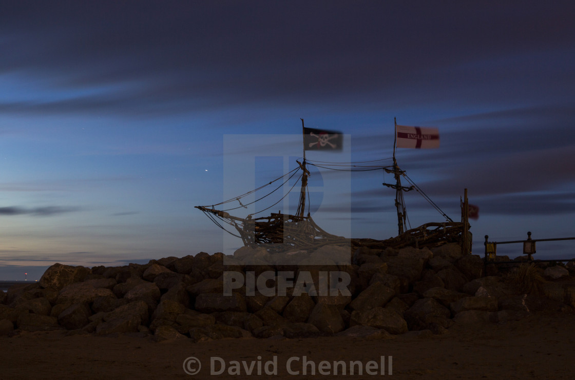 """Blue Hour Pirate Ship"" stock image"