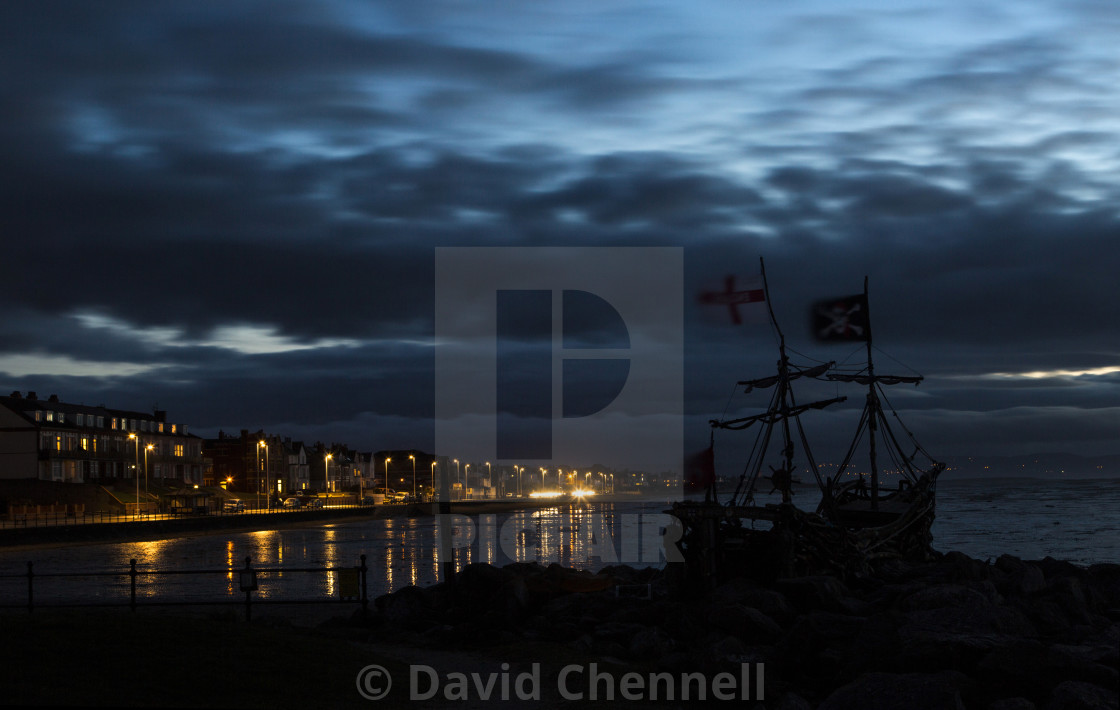 """Pirate Ship Blue Hour"" stock image"